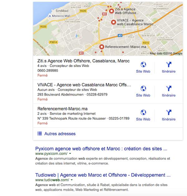 recherche agence web Google.co.ma Maroc
