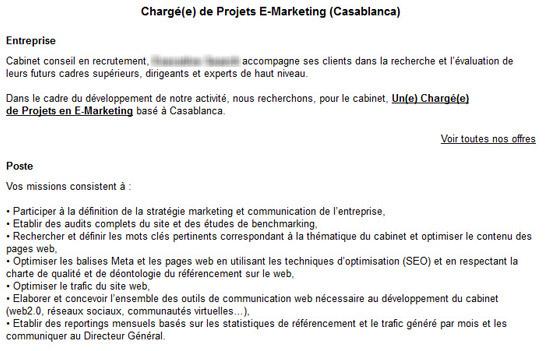 Coup de gueule les offres d emploi dans le e marketing - Travailler dans un cabinet de recrutement ...