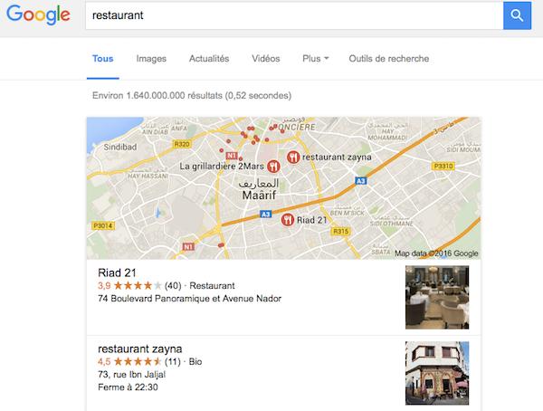 recherche restaurant Google.co.ma Maroc